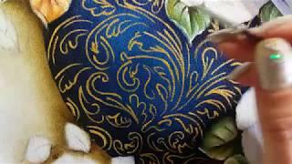 Vaso azul com stencil e rosas amarelas – Vídeo 2 – Pintura em tecido Ana Ferrante