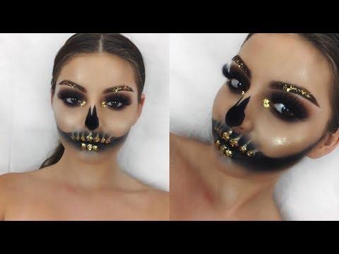 Glam Skull W/ Gold Flakes Halloween Makeup Tutorial   Shelby Triglia
