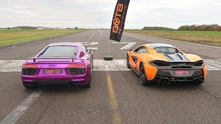 DRAG RACE! AUDI R8 V10 PLUS VS MCLAREN 570S!
