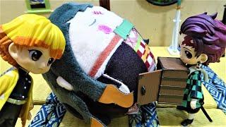 きめつのやいば 炭治郎が禰豆子を箱にいれたいけど禰豆子がはいらない!善逸、ドラえもんを連れてきて!鬼滅の刃 手作りミニチュアドールハウス