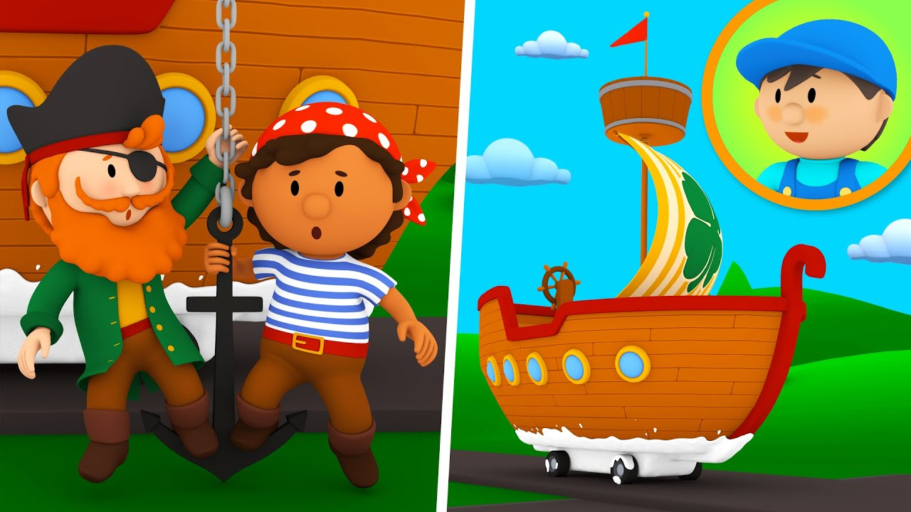 A Pirate Ship goes to Carl's Car Wash!   Cartoon for Kids