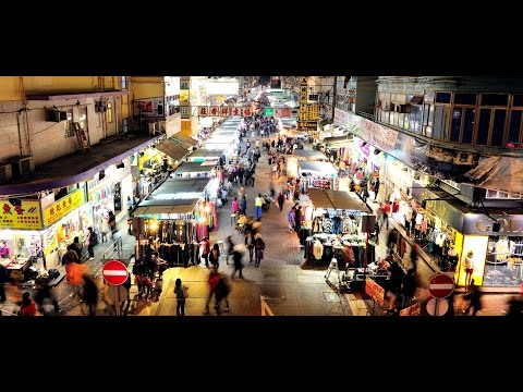 Temple Street Night Market in Hong Kong.