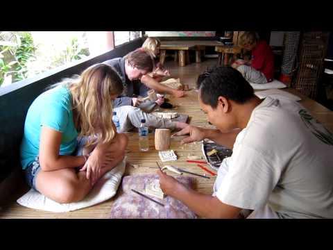 Lessons woodcarving Pondok Pekak Library Ubud Bali