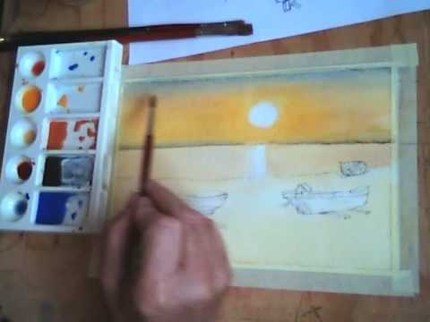 Corso di pittura on line tramonto primo tempo  YouTube