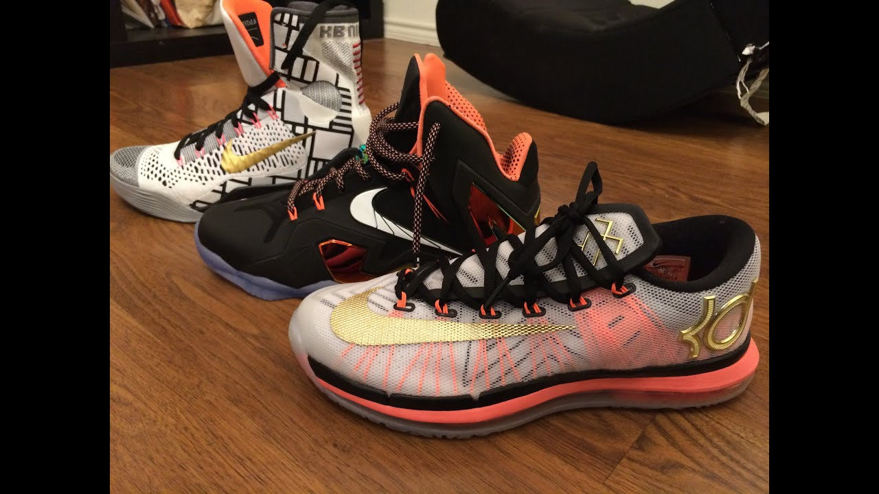 9b70b427cd0 Lebron KD Kobe elite gold pack review and on foot - YouTube