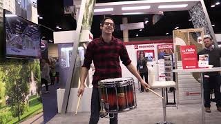 vuclip Casey Cooper tests the sound tunnel with a drum solo