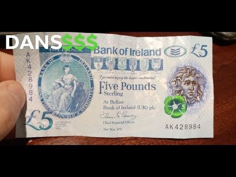 Bank Of Ireland Five Pounds Sterling Banknote