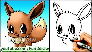 How to Draw Pokemon Characters - Eevee - Fun2draw style