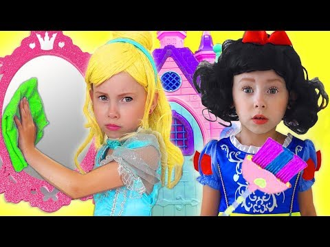 Kids Makeup Disney Princesses Pretend Play with Cleaning Toys & Real Princess Dresses