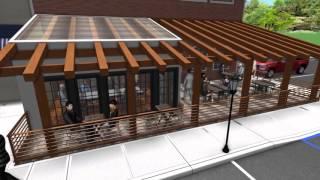 Landscape Design 3D Walkthrough - Restaurant Addition - Outdoor Dining Area - Timber Pergola