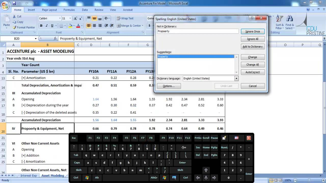 how to run spell check in excel
