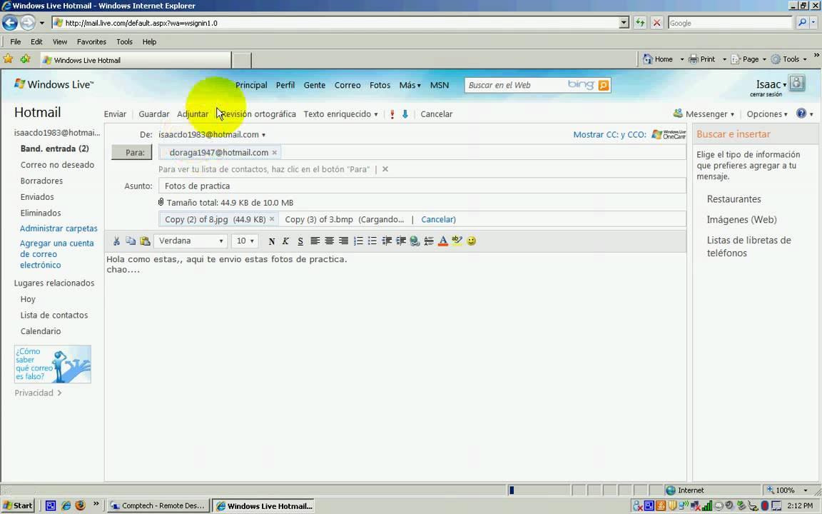 Fotos por correo electronico hotmail YouTube