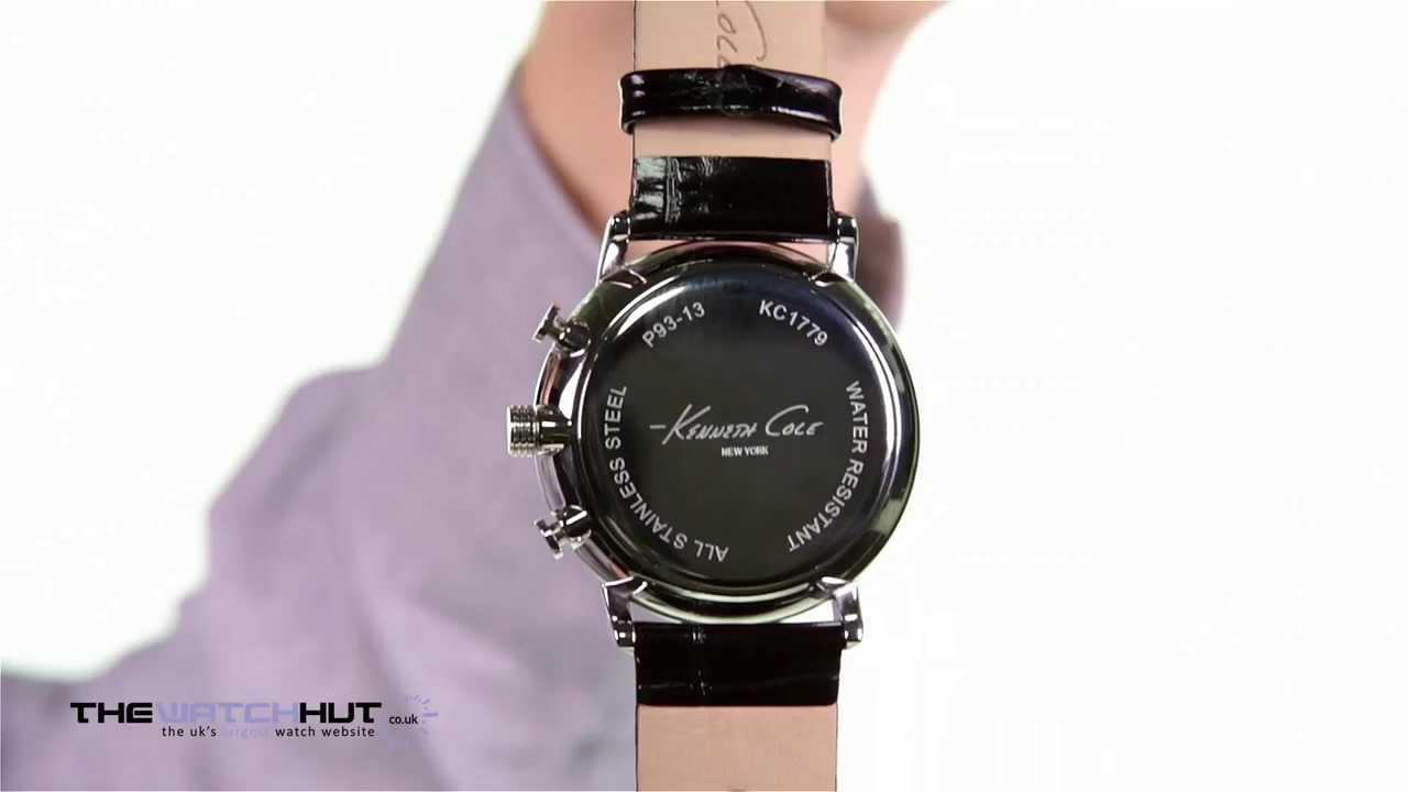 10ecc11f7a3 Kenneth Cole Gents Chronograph Black Strap Watch KC1779 - YouTube