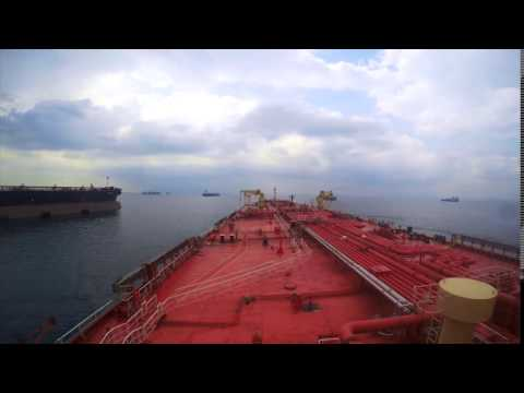 STS, Aframax tanker approaching a VLCC