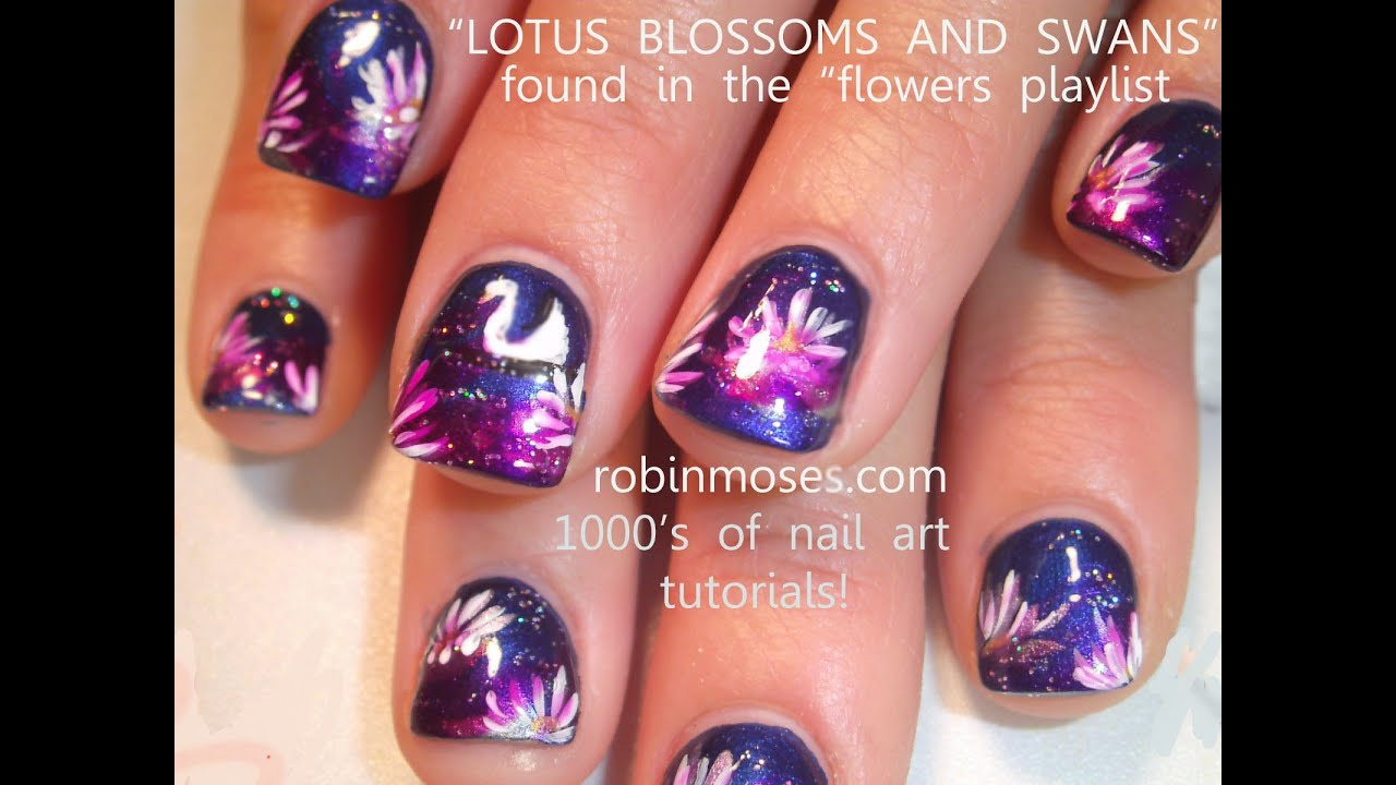 Lotus and Swans nail Art | Flower Nails Design Tutorial ...