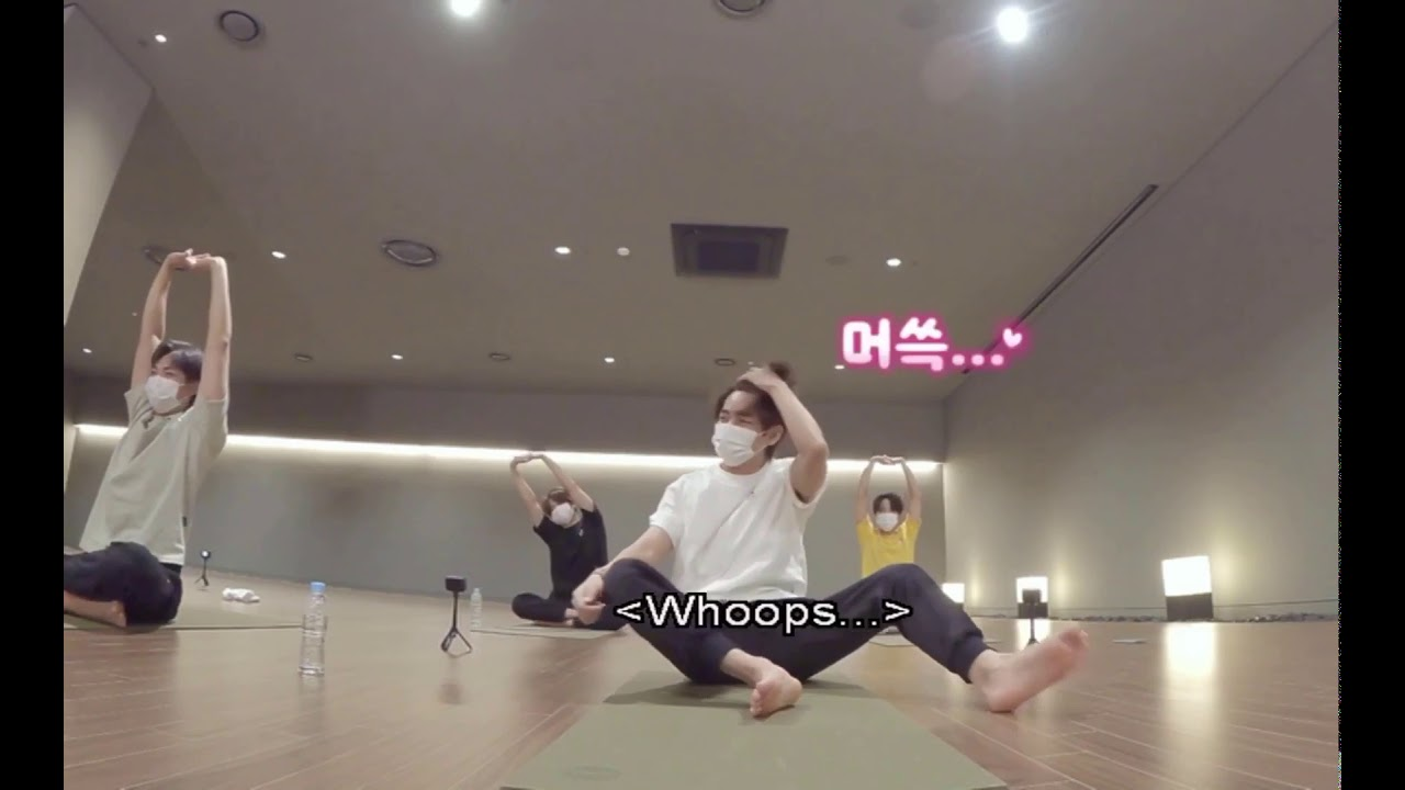Taehyung falls while BTS does Yoga | BTS Winter Package 2021 Engsub