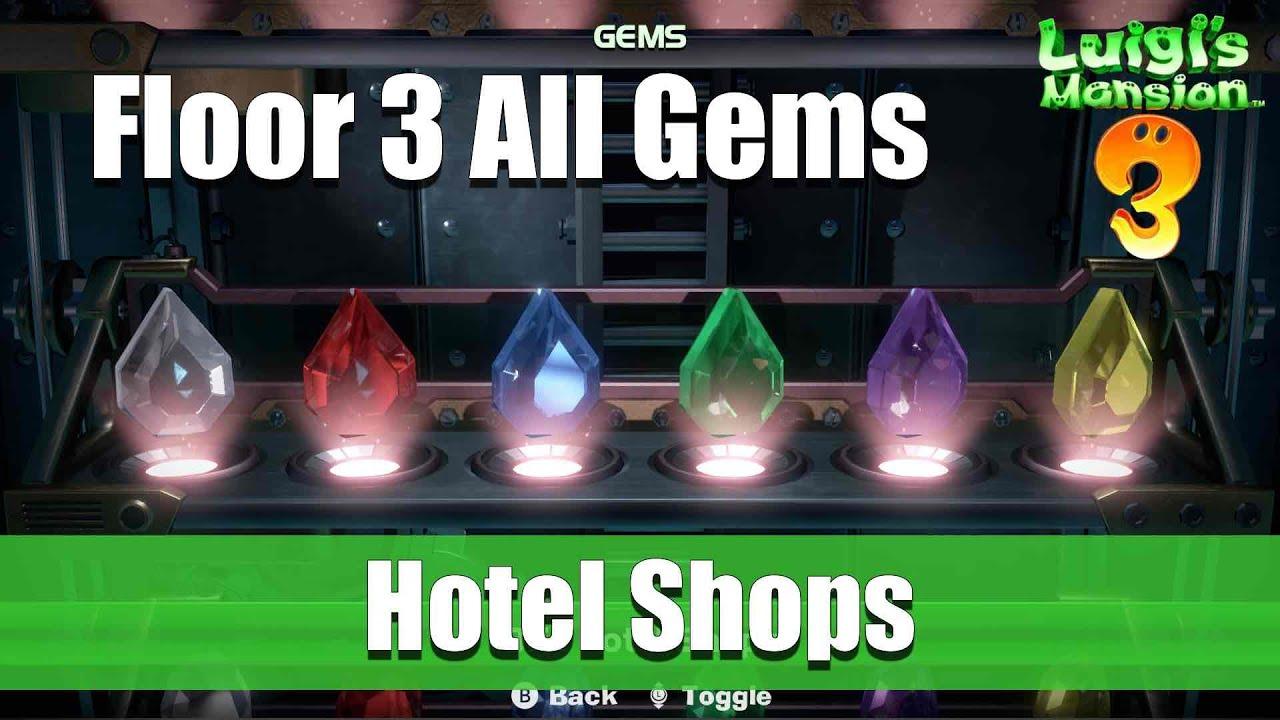 Luigi S Mansion 3 Floor 3 Gem Locations The Hotel Shops