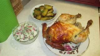 Курица в духовке на вертеле.