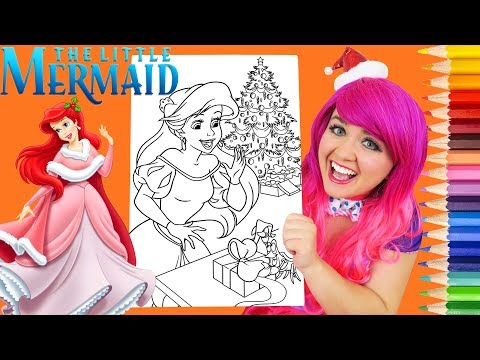 Coloring Ariel Christmas Little Mermaid Coloring Page Prismacolor Colored Pencil | KiMMi THE CLOWN