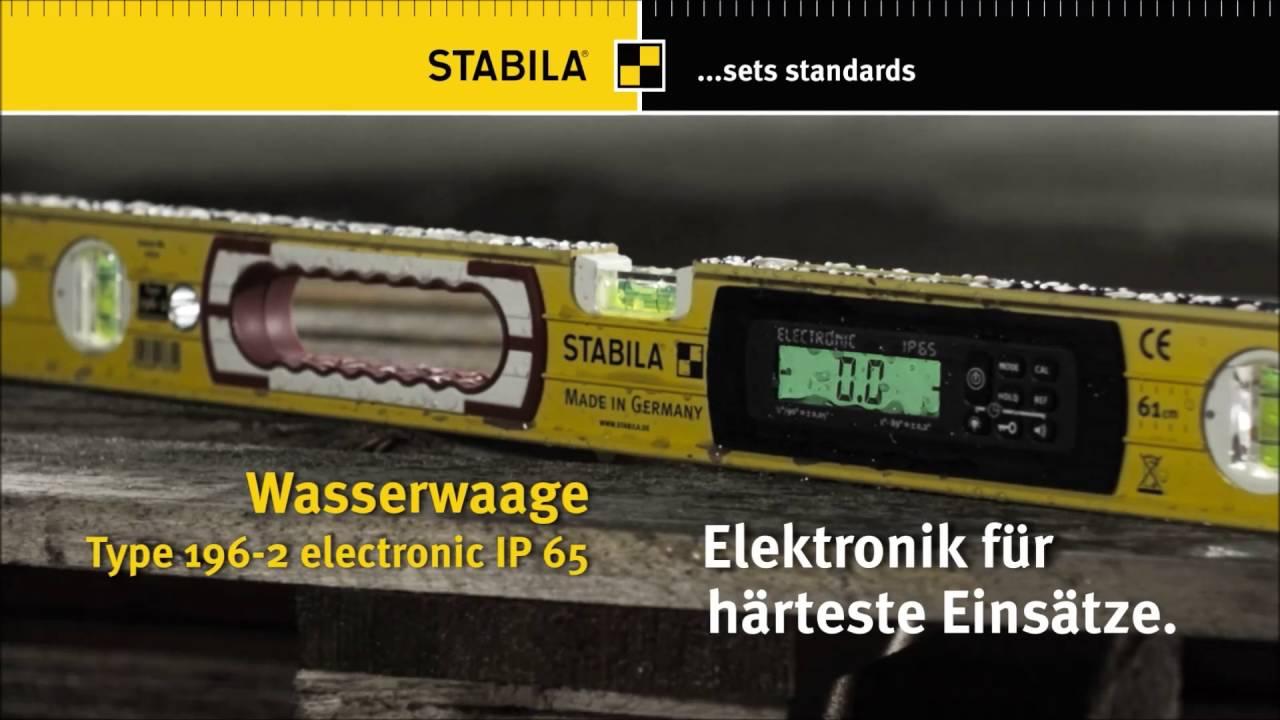 Stabila elektronik wasserwaage type 196 electronic ip 65 youtube