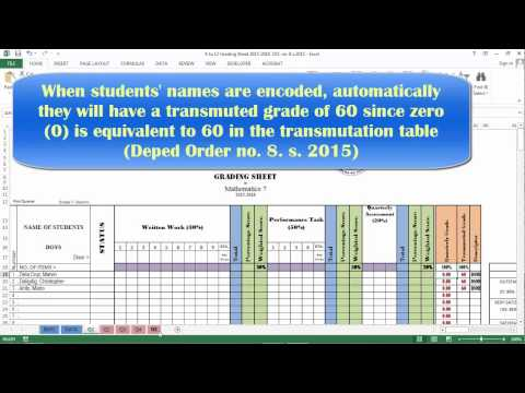 K 12 Grading Sheet Based on DepED order no 8 s 2015 - YouTube