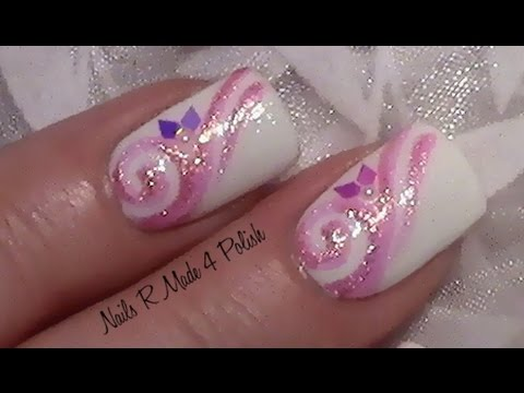 rosa glitter schn rkel nageldesign fingern gel lackieren mit nagellack nail art design. Black Bedroom Furniture Sets. Home Design Ideas