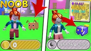 Noob With RAINBOW CORE SHOCK Unlocked All Areas In 2 MINUTES - Pet Simulator (Roblox)