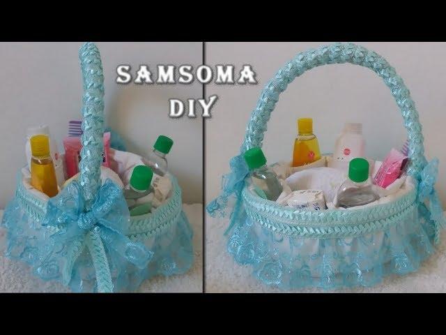 عمل سلة لاغراض ومستلزمات البيبي من سلسلة تجهيزات للمواليد Diy Baby Gift Basket Idea Youtube