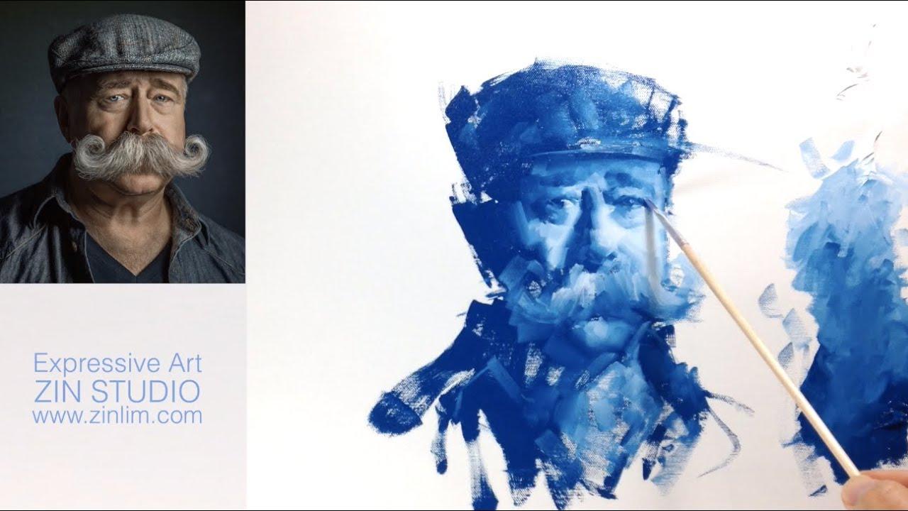 Oil painting Demo: BLUE Impressionism Monochrome Portrait.