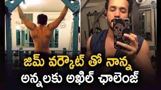 akhil akkineni gives fitness challenge to nagarjuna naga chaitanya latest telugu movie news