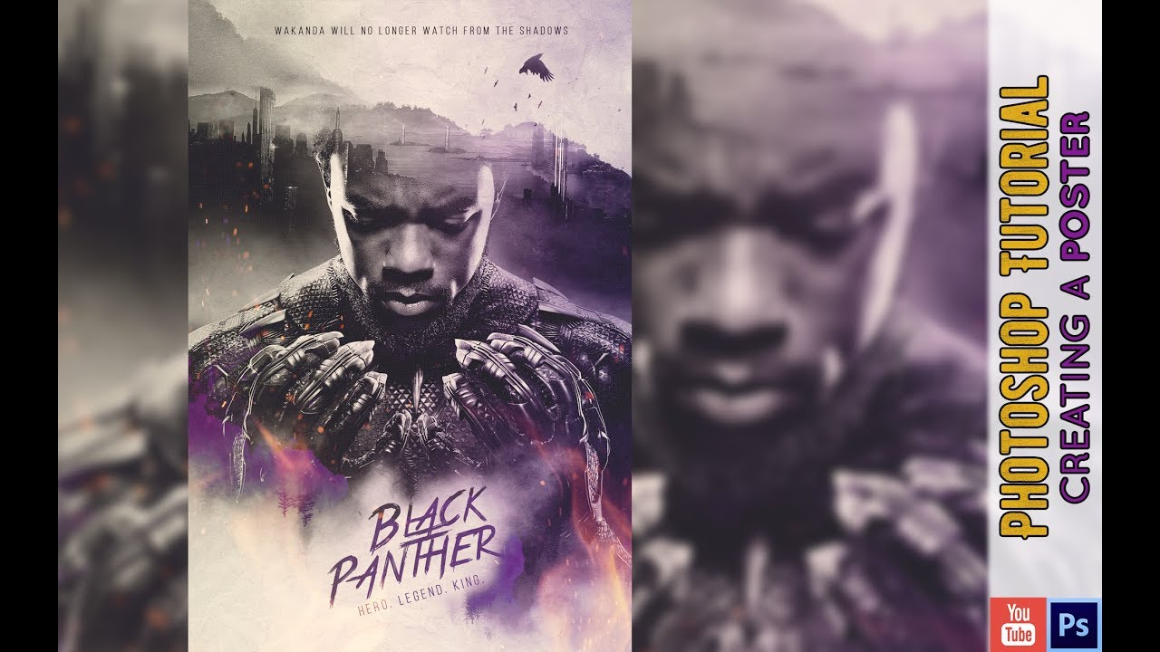 Black Panther Poster Speedart Tutorial Youtube