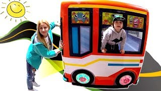 Wheels on the Bus Song | Kids Pretend Play Driving Bus at Indoor Playground