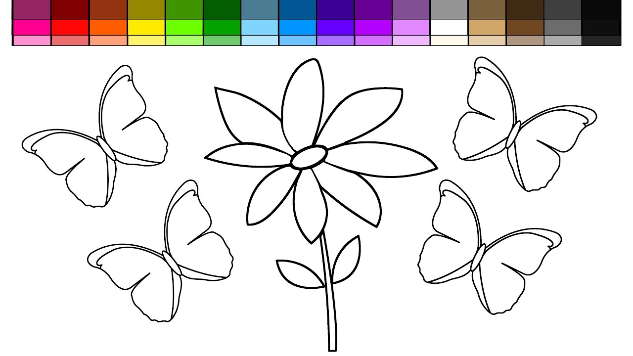 learn colors for kids and color flower and butterfly coloring