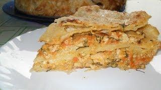 Мясной пирог из лаваша. Рецепт