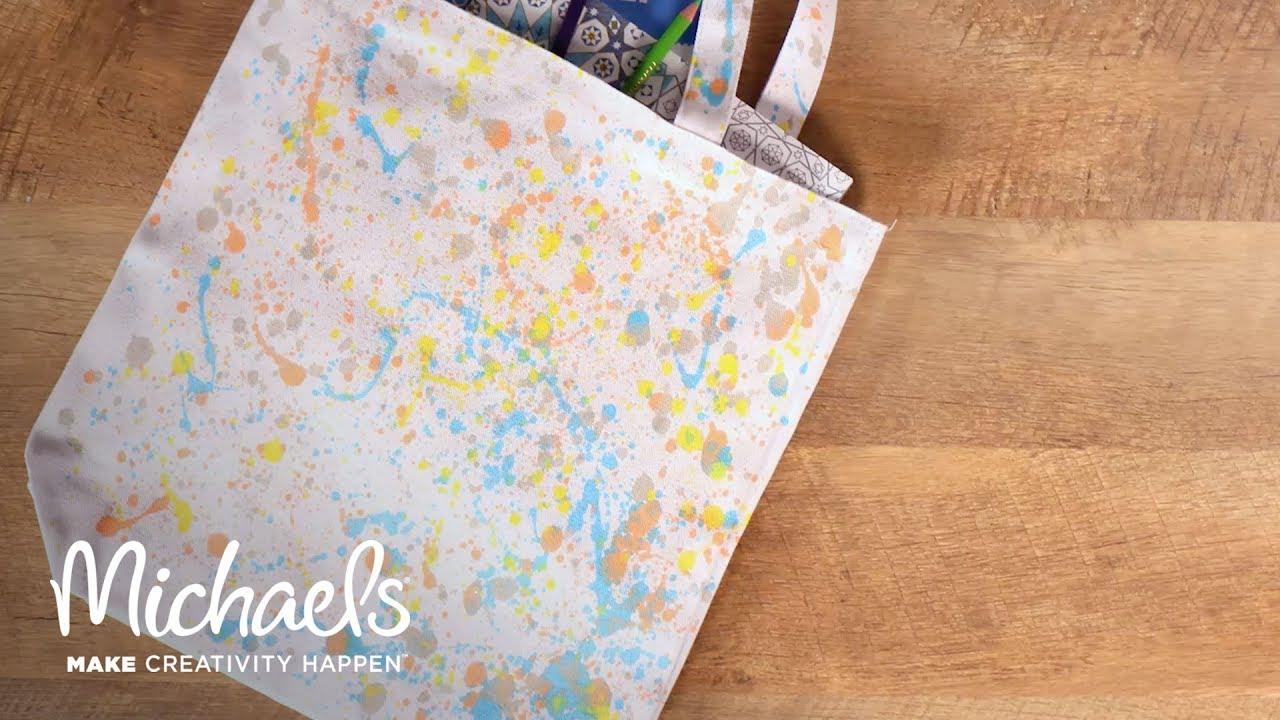 Splatter paint a canvas bag michaels