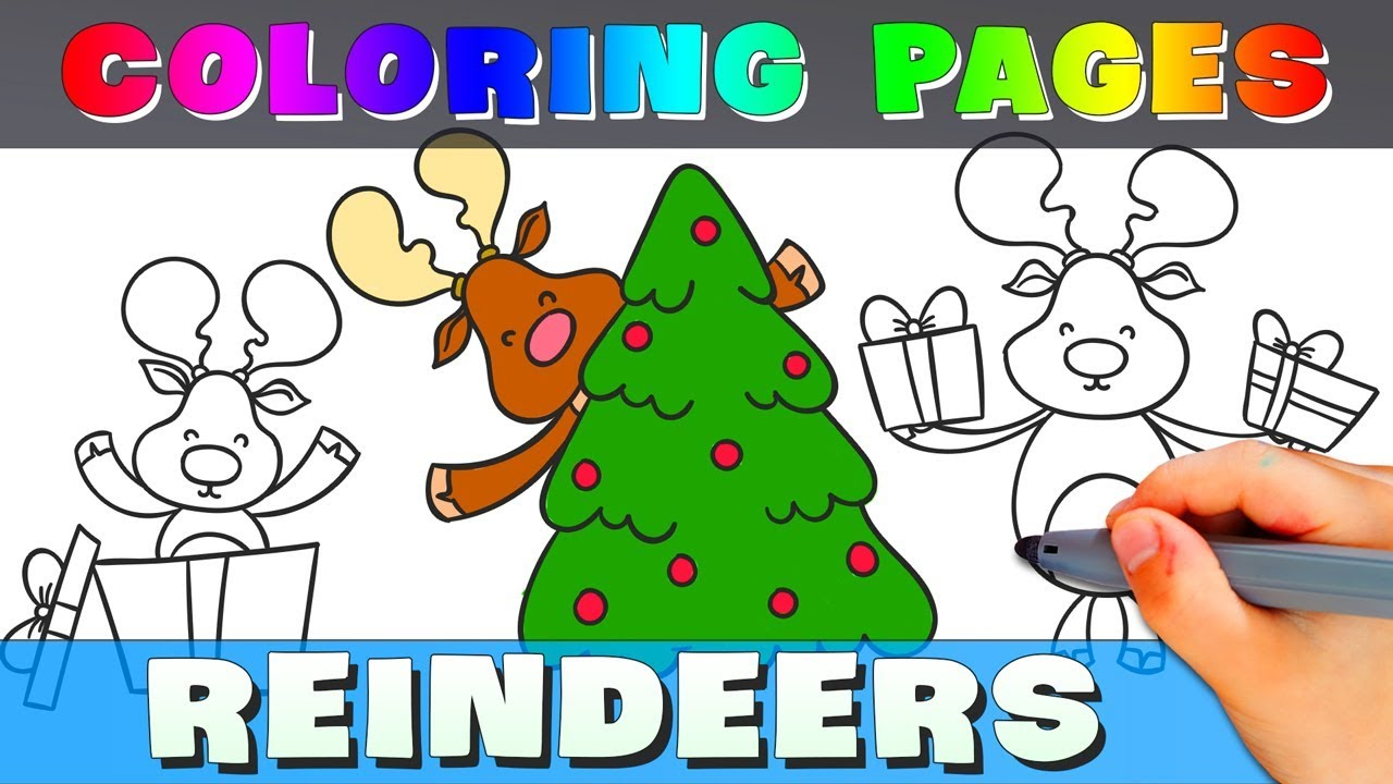 Reindeer Coloring Pages - How To Draw A Cute Reindeer Cute Christmas ...