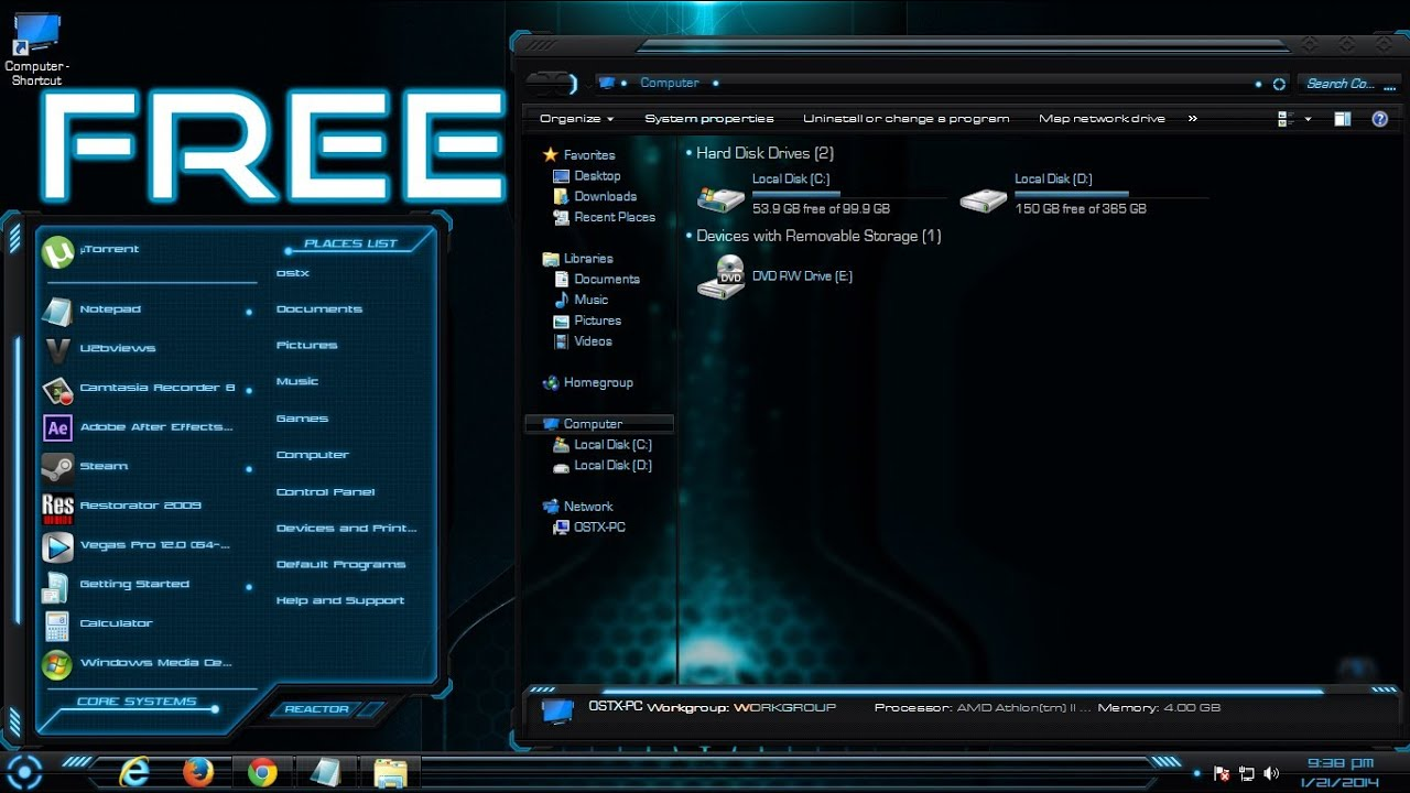 free hud premium awesome blue windows 7 theme youtube