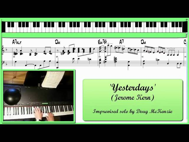 'Yesterdays' - Solo jazz piano tutorial