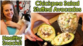 Healthy Snacks & Weight Loss Tips: Chickpea Salad Stuffed Avocados, High Protein, Vegetarian
