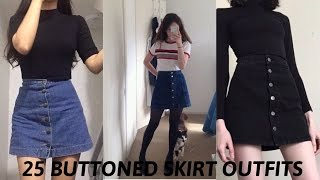 25 BUTTONED SKIRT TUMBLR OUTFITS