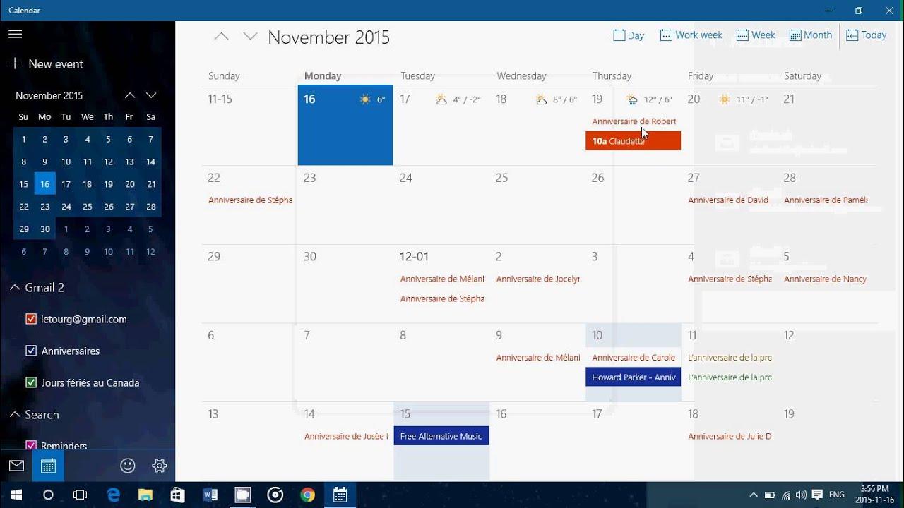 Phương pháp Thiết Lập Thêm trương mục Trong ứng dụng Lịch windows 10