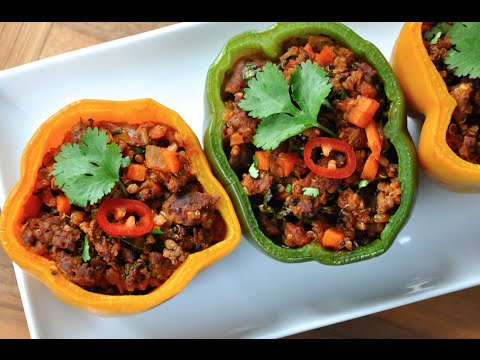 Chorizo Stuffed Bell Peppers Recipe - Quick and Healthy Dinner with Quinoa