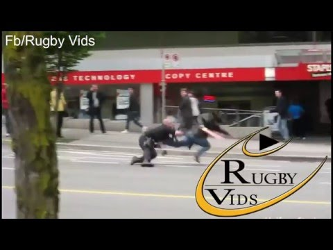 Police epic rugby tackles with rugby commentary...epic!