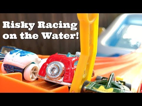 Hot Wheels Racing over Pool with Big Jump to Finish Line!