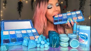 ASMR EDIBLE JEFFREE STAR BLUE BLOOD PALETTE (FAKE), CANDY MAKE UP, DIAMONDS, SHOT GLASS MUKBANG 먹방