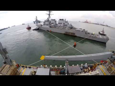USS McCAIN: Timelapse Of Destroyer Prepped To Load On Heavy Lift Vessel MV Treasure.