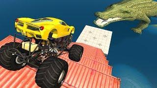 Kazalardan Atlama ve Ölümcül Merdivenlerden Düşmek - Beamng drive (Dev Timsah)