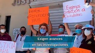 """""""Pedimos una línea de investigación contra el marino y comisario de Guaymas, Andrés Humberto Cano Ahuír, señalado por Ricardo López de falsos testimonios y amenazas de muerte"""", exigieron los manifestantes a la Fiscalía"""