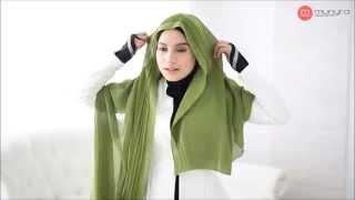 Simple Hijab Tutorial - Khadyja Pleated Chiffon Shawl by Munyra Apparel