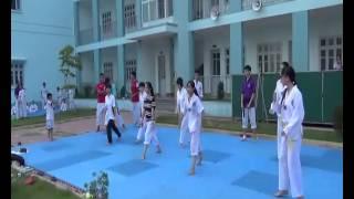 Câu lạc bộ Taekwondo THPT Chuyên Hạ Long tập luyện
